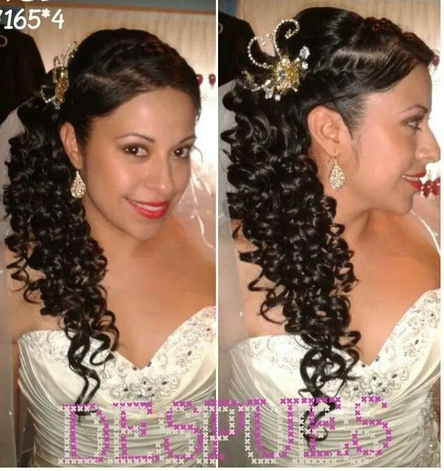Side hair style.curly hair.half do.bride makeup.bride hair do