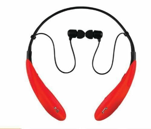SuperSonic Red Bluetooth Neckband Headphones Smartphone Mic Built-In Controls