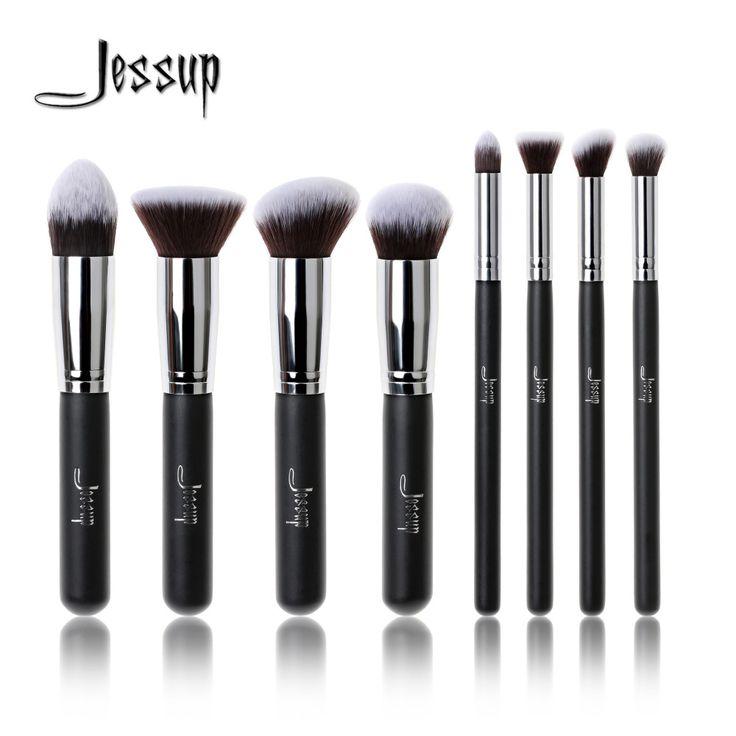 Jessup Brand Professional 8pcs Black/Silver Foundation blush Liquid  Kabuki brush Makeup Brushes Tools set Beauty Cosmetics kit