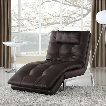 Vienna Bonded Leather Chaise Lounger - Java
