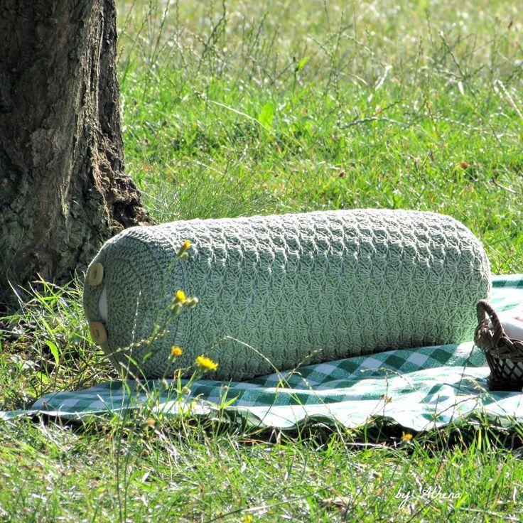 Crochet roller pillow - olive green