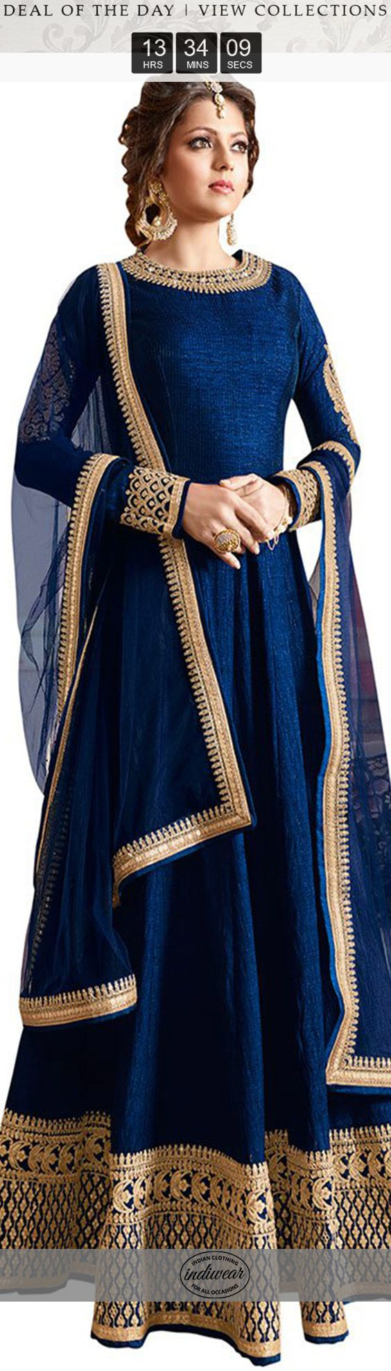Love this blue anarkali The floor-length anarkali, an Indian translation of the voluminous gown dress.Complimenting and free-streaming, there is something about this time-respected most loved outfit.With the wedding season upon us, it's just the silhouette you need stand out at the very special event.Not only do they look elegant Anarkali's have a way of standing out in a crowd of loud Indian attires.