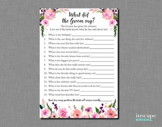 What Did The Groom Say About His Bride Bridal Shower Newlyweds He Her Who Knows Best S Wedding Ideas