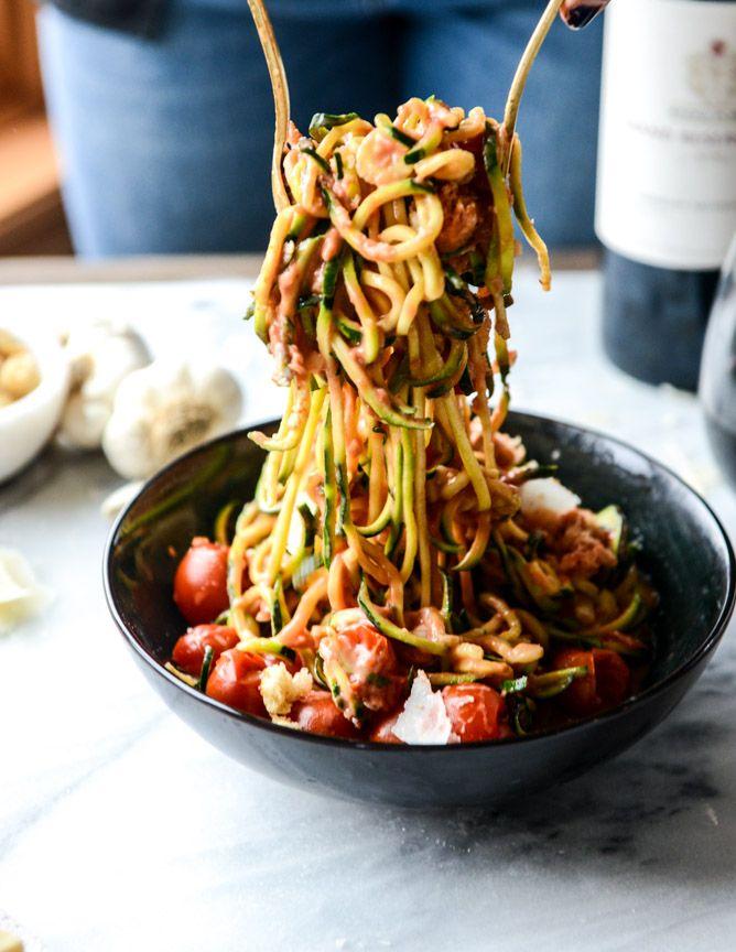 Zucchini noodles with cherry tomato garlic cream sauce