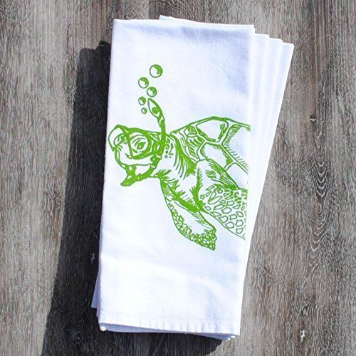 Cloth Dinner Napkins Screen Printed Green Sea Turtle Cotton. Set of 4 cotton dinner napkins that are washable and reusable. These are bright white cloth napkins featuring images of a sea turtle snorkeling. I personally hand draw all of my designs and hand pull all of my screen print images. The printed cotton table napkin are eco-friendly kitchen napkins premium quality 100% recycled cotton. They are nice and thick and will stand up to everyday wear. I use high quality water based inks…