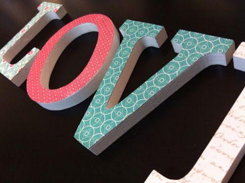 Hilos de Azúcar - I Love DIY.... letras de madera decoradas con papeles estampados.
