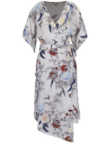 Krémové vzorované zavinovací šaty Miss Selfridge