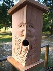 Hand Carved Cedar Birdhouse. WOOD SPIRIT. NHdown on Etsy, $38.00