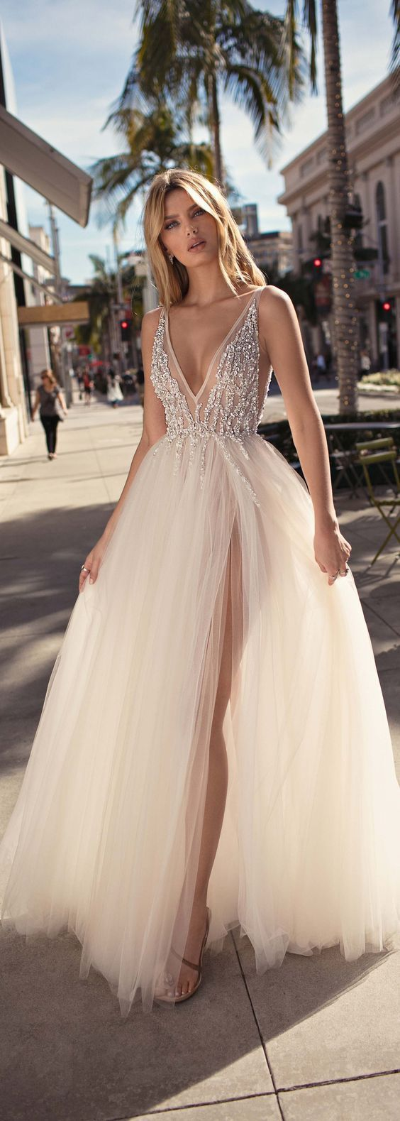 Deep V Neck Prom Dress,long Weeding Dress,party Dress With Split, Floor-length #…
