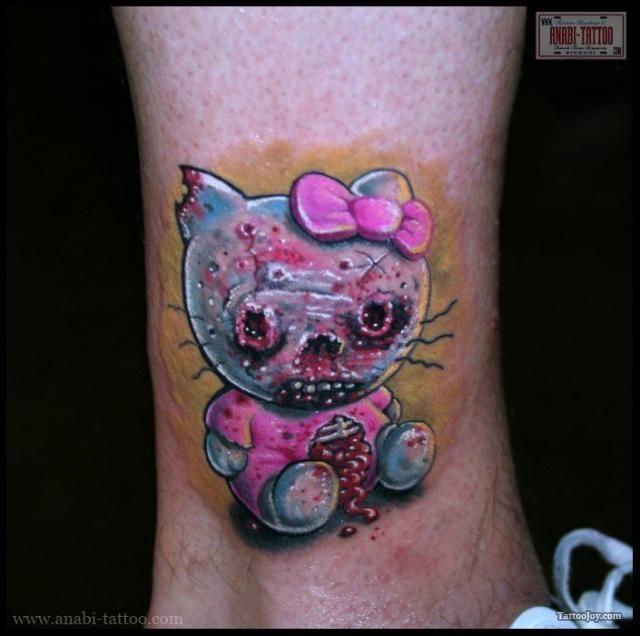 awesome Zombie Hello Kitty tattoos