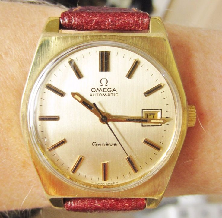 Omega Geneve Auto 21 Jewels Date Watch Superb 1970s Gents Gold Plated Professionally Serviced 6 Months Warranty by Sparkleonyourfingers on Etsy
