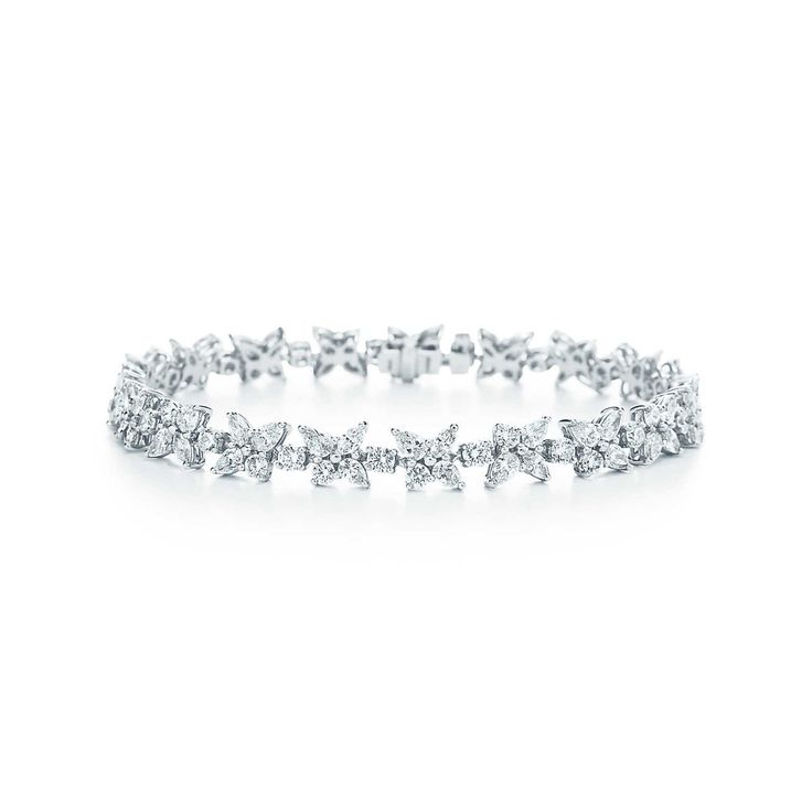 Tiffany Victoria® mixed cluster bracelet in platinum with diamonds.