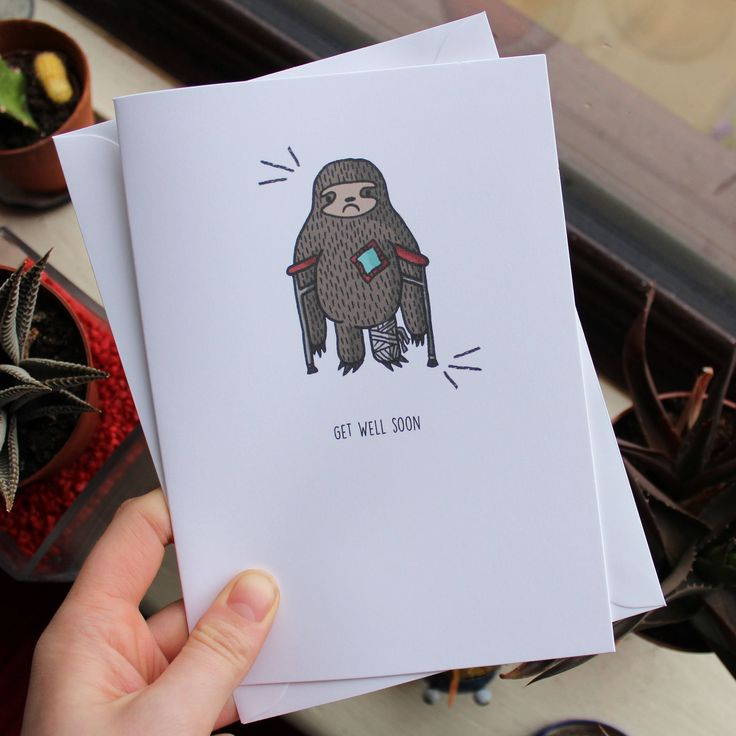 Sloth Greeting Card // Get Well Soon // Illustrated Get Well Soon Card // A5 + Paper Envelope Included by TheArtCaveCreations on Etsy