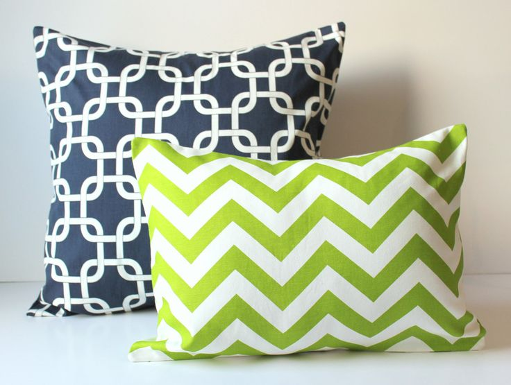 2 Decorative Pillow Covers - Navy Blue & Apple Green Cushion Covers Set of 2 - Gotcha Links and Chevron - Set of 2 Nursery Decor. $34.00, via Etsy.
