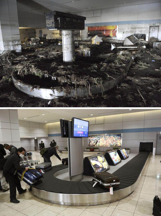 Efectos devastadores del tsunami que asoló Japón en 2011. Zona de recogida de equipaje en el aeropuerto de Sendai en Natori, Miyagi.