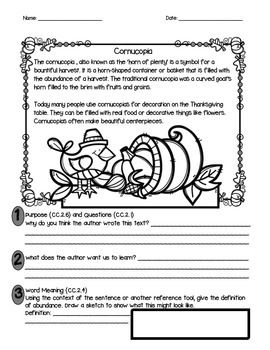 Informational Text for Thanksgiving (Short Passages about Thanksgiving Symbols)
