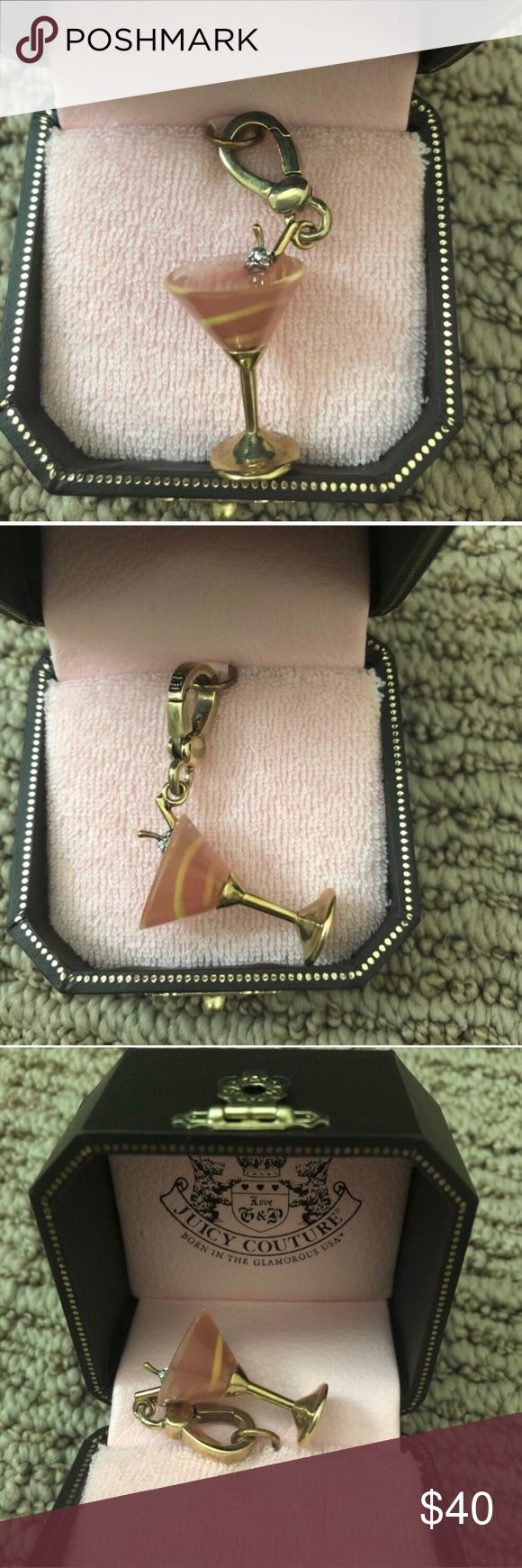 🍸 Juicy Couture Pink Martini Drink Charm 🍸Juicy Couture pink martini charm  🍸BRAND NEW in tagged box 🍸Has a swirl of lemon inside and a tiny crystals cherry; all stones are intact  ‼️Price is FIRM, please remember the posh fees. NO trades‼️ Juicy Couture Jewelry