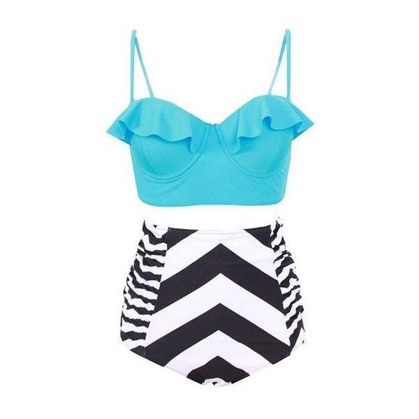 Striped High Waist Flouncing Two Piece Swimwear ($25) ❤ liked on Polyvore featuring swimwear, bikinis, blue, high-waisted bikinis, blue ruffle bikini, two piece swimwear, flutter bikini and flounce bikini