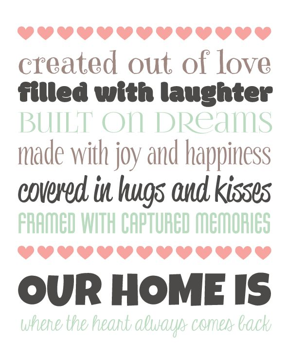 Our Home Word Art Typography Wall Art Home Decor Unique Gift Love Laughter Dreams Joy Happiness Hugs Kisses Memories Heart
