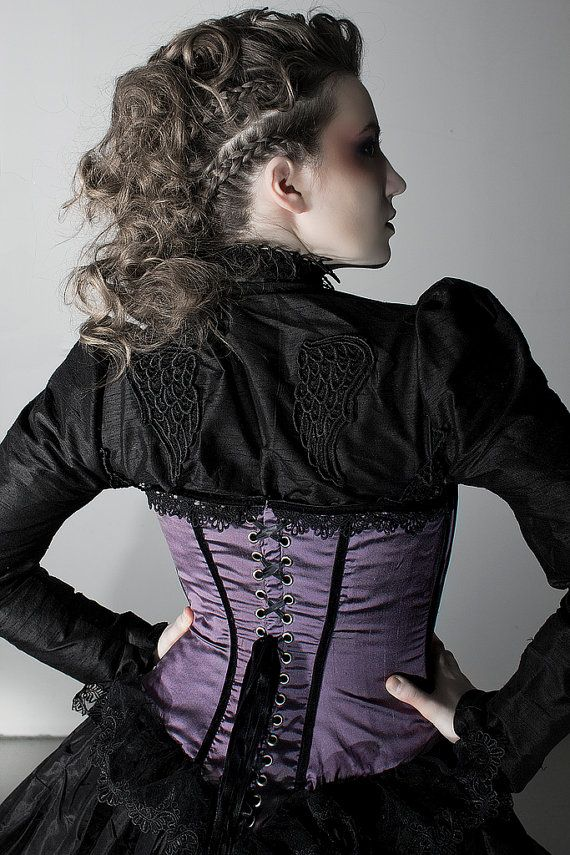 Gothic Blouse Victorian Style in Black Silk with by KMKDesignsllc,