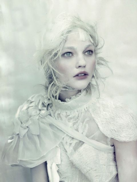 Sasha Pivovarova Love the feel of this/fabric, make-up, colour and hair wise
