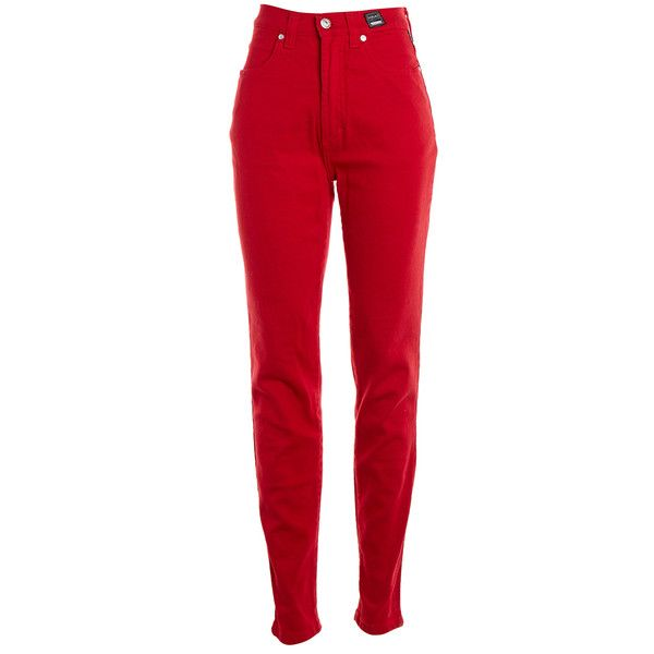 Pre-owned Women's Versace Jeans Couture Red Jeans ($25) ❤ liked on Polyvore featuring jeans, pants, red, red jeans and versace jeans couture