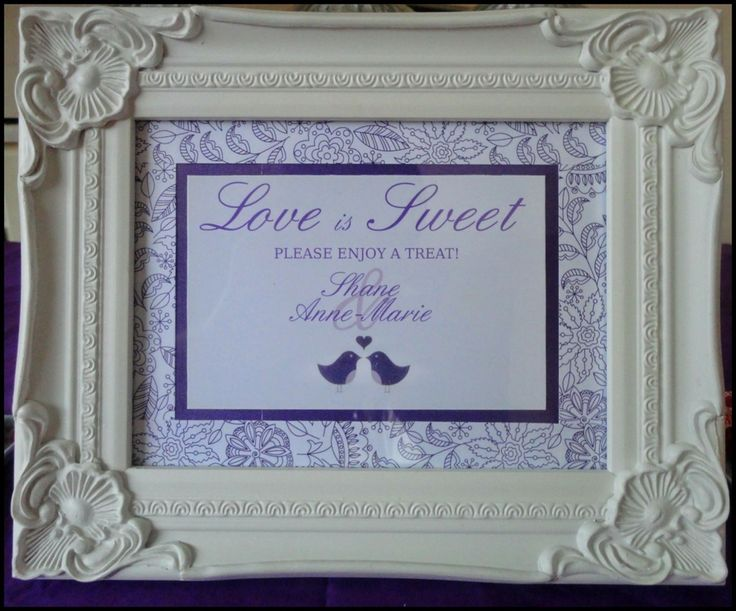 Purple sweet table sign for a wedding