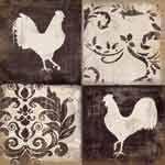 Rooster_Silhouette_facing_Rustic Roosters Daphne B Kitchen Backsplash Tile Mural
