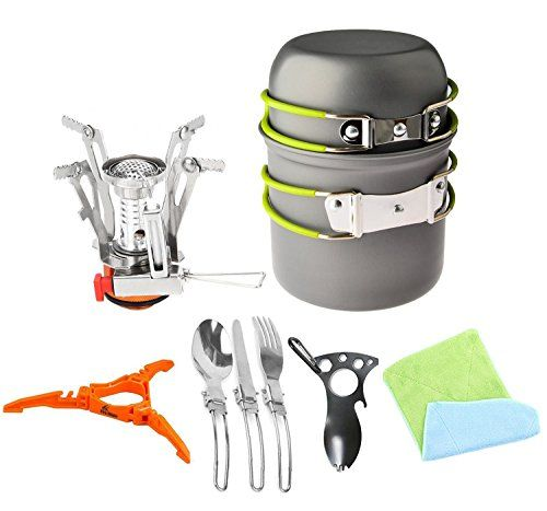 12pcs Camping Cookware Stove Canister Stand Tripod Folding Spork Set BisgearTM Outdoor Camping Hiking Backpacking Nonstick Cooking Nonstick Picnic Knife Spoon Bottle Opener *** Visit the image link more details.