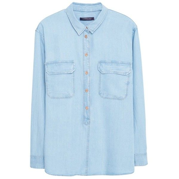 Violeta by Mango Bleached Denim Shirt, Light Blue ($68) ❤ liked on Polyvore featuring tops, long sleeve tops, blue top, long sleeve collared shirt, womens plus size shirts and blue collared shirt