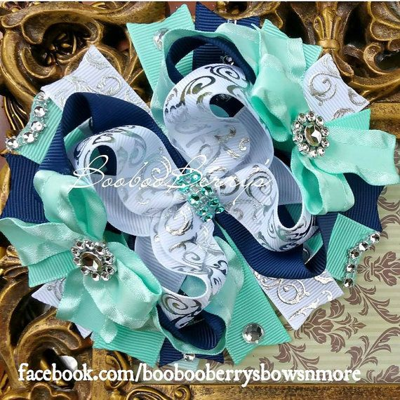 Mint & Navy Blue Hair bow Bling stackd Mint Blue by BoobooBerrys