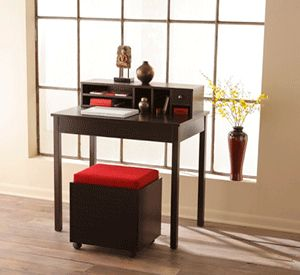 Small home office design, computer desk and stool (with file storage) for contemporary home office storage
