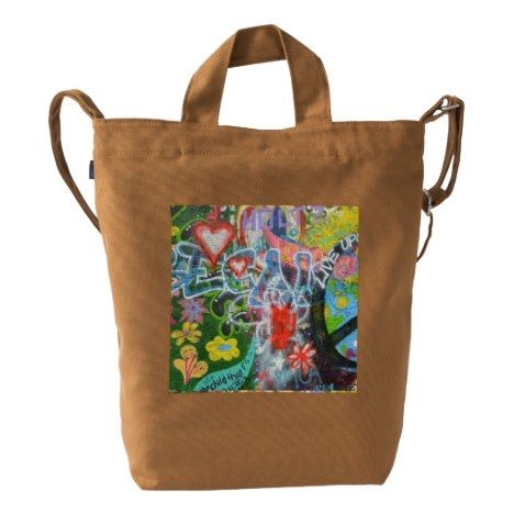 Live Upside Down Peace Sign Wall Duck Bag #clutch #tote #backpack #messenger