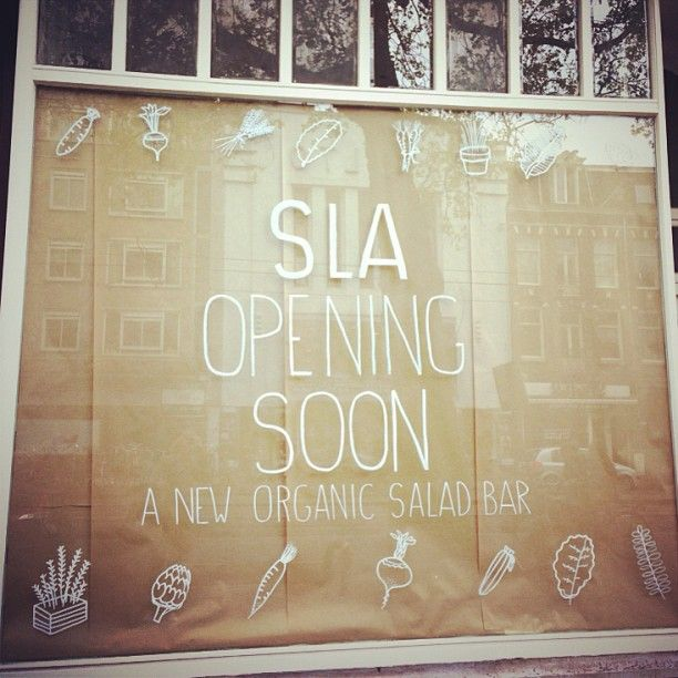 'Sla' (Salads) is definitely the newest hotspot in town. Finally a 100%. healthy food option in De Pijp. Opening 1st of July at Ceintuurbaan. #greetingsfromnl