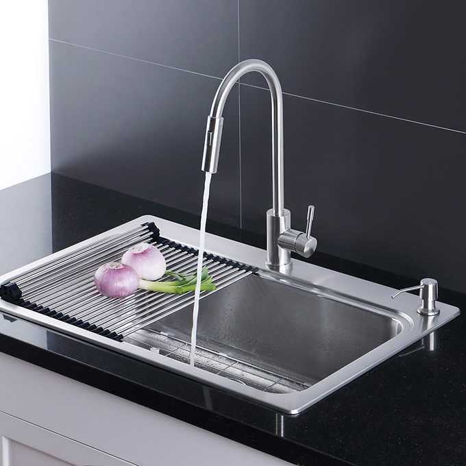 Afa Stainless Single Bowl 33 Dual Mount Kitchen Sink Faucet