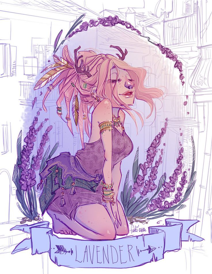 Dream of lavender scent by Fukari on deviantAR like the idea of drawing flower people