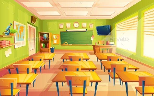 Vector Cartoon Empty School Classroom Classroom Background Classroom Interior Classroom