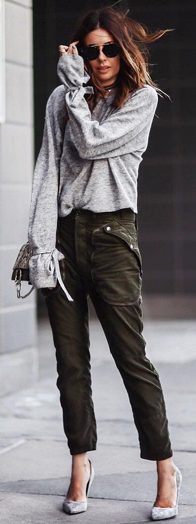 #fall #street #trends   Grey + Khaki
