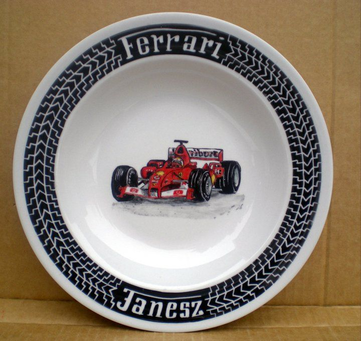 Hand painted personalized Ferrari plate with tires #boy #plate #F1 #HandPainted