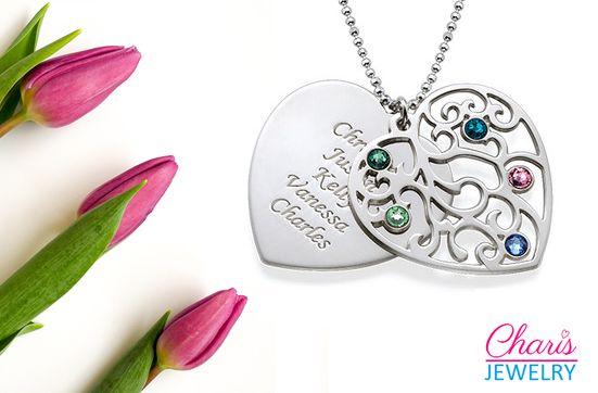 Personalized Family Names Birthstone Necklace www.charisjewelry.co.za