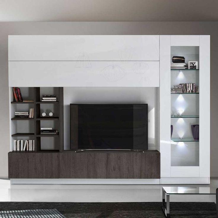 Geradlinige Wohnwand mit viel Stauraum - in Hochglanz Weiß ...
