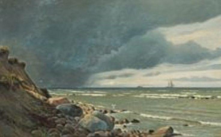 Maleri af Christian Blache (1838–1920) Kystparti med stormskyer -, Hirtshals 1919 - (80 x 127 cm)