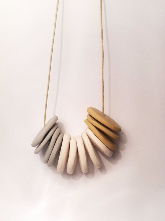 LONG WAY HOME / madely handmade necklace / mustard, white, grey polymer clay