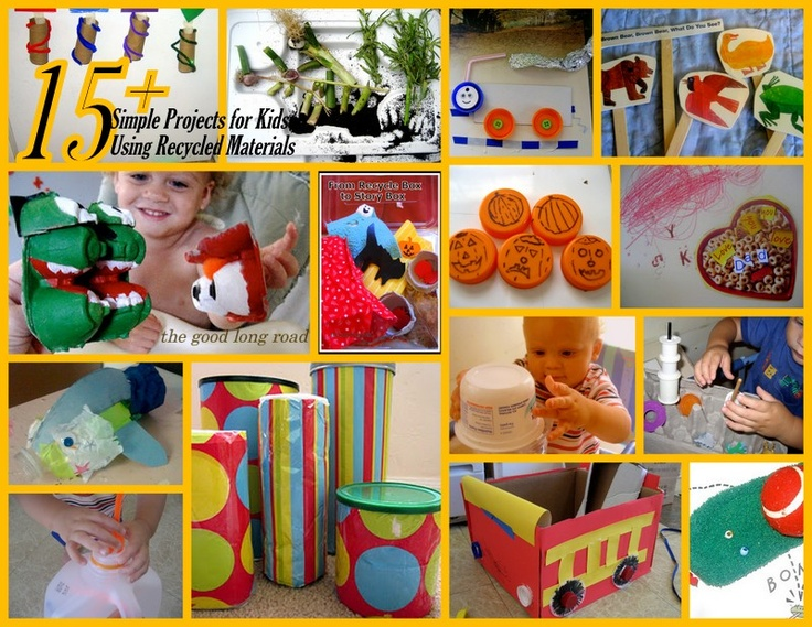 53 best kids 39 recycle crafts images on pinterest crafts for Materials for kids