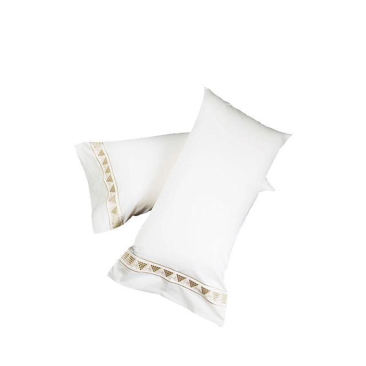 2 taies d'oreiller brodées Raisins | Coton ivoire, brodé, 50 x 90 cm | Interior Design Lalique
