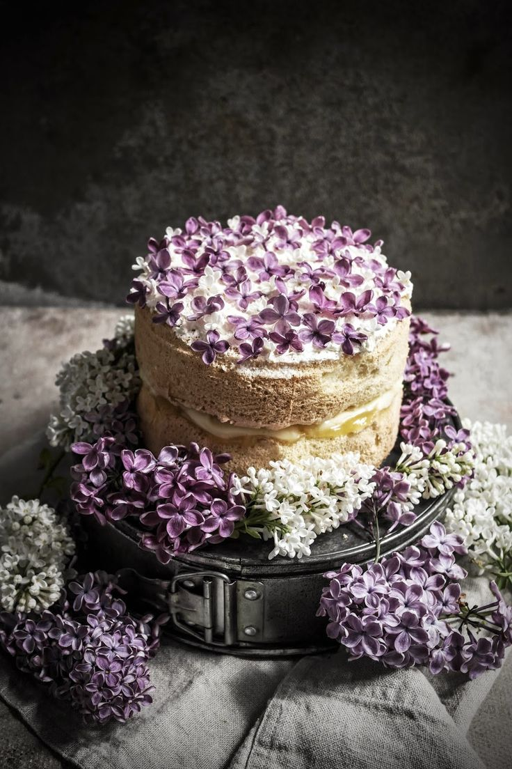 Feather Light Cake with Lilac Infused Crème Patissiere and Lemon Curd