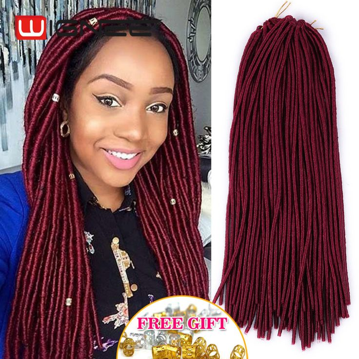 20 Inches Havana Mambo Faux Locs Braids Synthetic Braiding Hair Burgundy Color 20 Strands Single End Crochet Dreadlocks Hair US $5.50 - 46.50