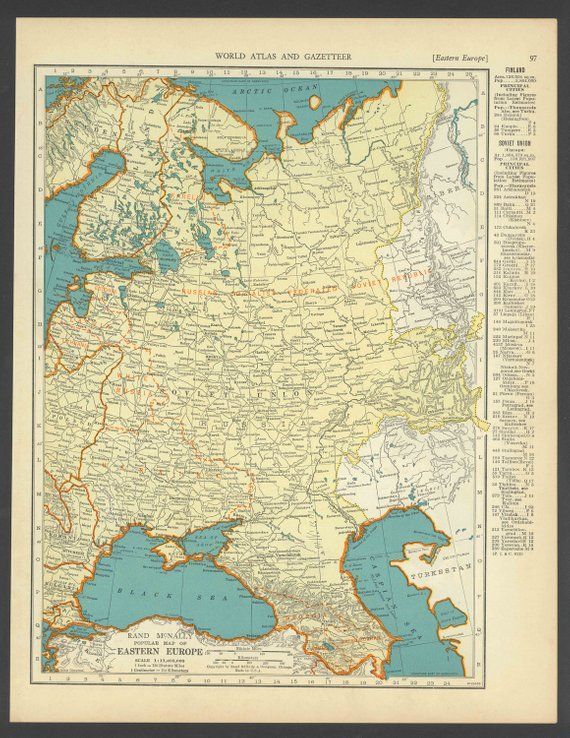 Vintage Map of Eastern Europe From 1937 Original | Products in 2018 ...