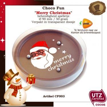 """Choco Fun """"Merry Christmas"""" (spelletje) /  50 gram / Smaak Melk of Purechocolade.  Verpakking Transparant doosje. Te bestellen vanaf 120 stuks. #spelletje #chocolade #geschenkl"""