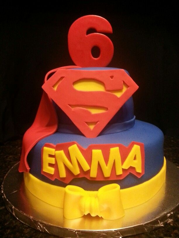 Our 2 Tier SuperGirl Birthday Cake.